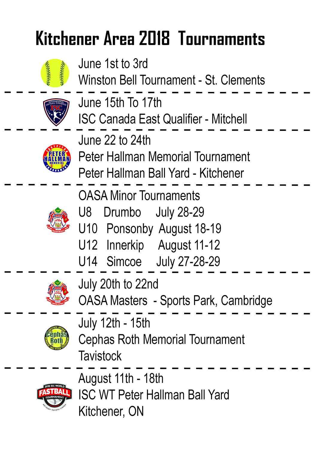 Tournament Schedule in Kitchener/Waterloo
